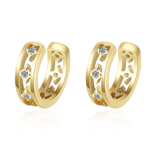 Clip-on Earrings Female Japanese And South Korean Style Simple Hipster Ring Diamond Pierceless Earringss Xze550