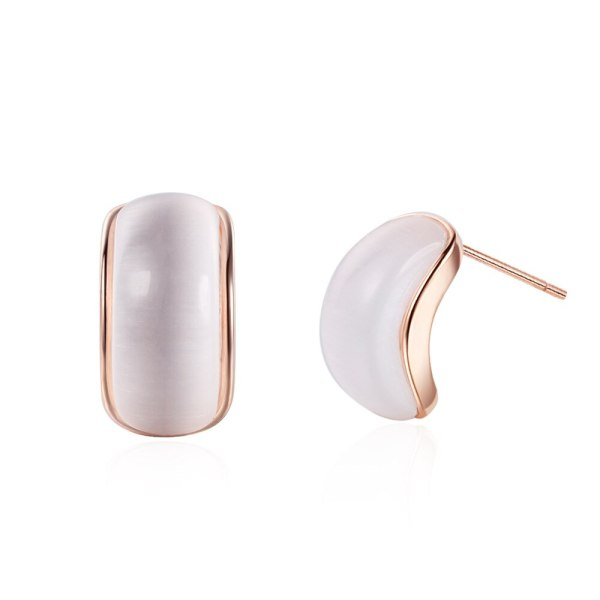 South Korea Dongdaemun Simple Semicircular Curved Ear Stud Female French Normcore Style Simple Opal Earrings Ed881