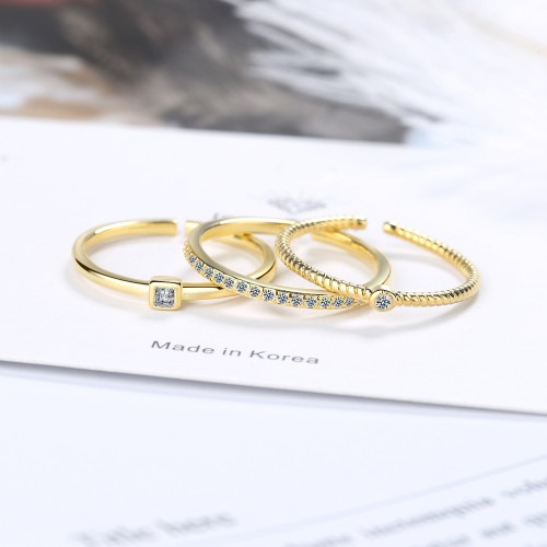 Normcore Style Three-Piece Index Finger Ring Female Ins Tide Net Red Diamond Set Fashion Cool Simple Little Finger Ring JZ325
