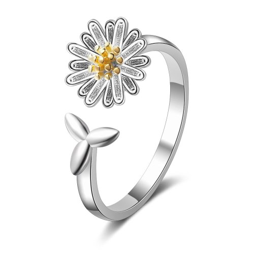 Daisy Open Ring Female Simple Student Fresh Mori Leaves Girl's Ring Ins Immortal 327