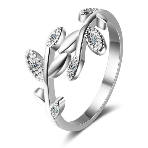 Ring Women's Korean-Style Elegant Hipster Open Diamond Set Rattan Leaf Ring Ring Xzr326