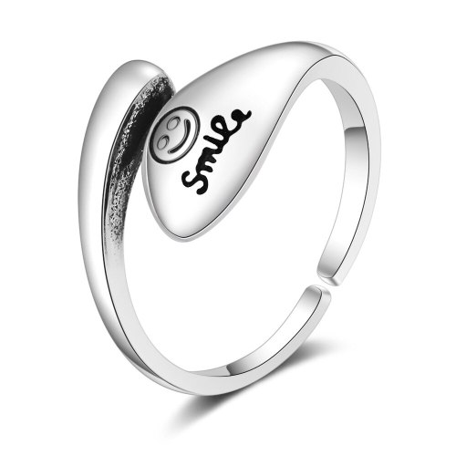 Korean-Style Fashion Retro Lettered Ring Elegant Smile Artistic Smiley Face Ring Xzr309