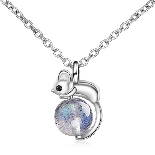 Cute Mini Mouse Pendant Necklace Natural BlueRay Moonstone Year Of The Rat Short Clavicle Chain 498