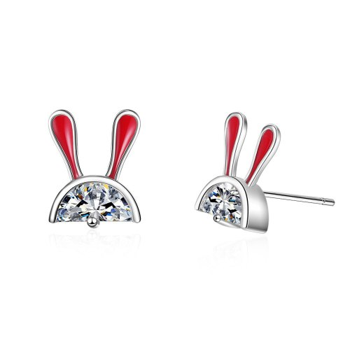 Ear Stud Women's Korean-Style Sweet Little Bunny Ear Stud Elegant Curved Moon Earringss Ed878