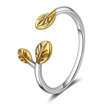 Ring Female Japanese And South Korean Style Simple Branch Golden Leaf Open Ring Artistic Single Ring Female Eh324