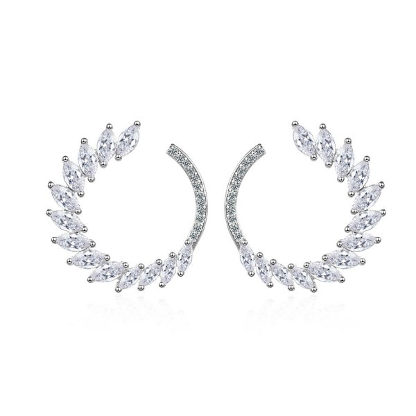 Korean-Style Zircon Horse Eye Hoop Earrings Fashion Leaves Curved Garland Ear Stud Versitile Girl's Earringss Ed880
