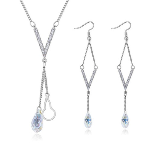 V word crystal drop jewelry set s25917