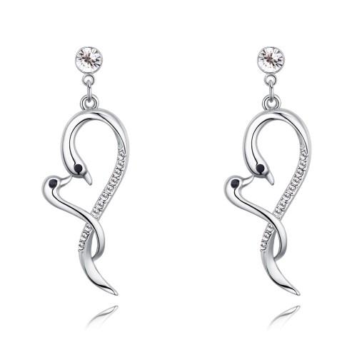 swan heart long earring 26750