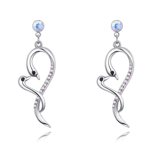 swan heart long earring 26748