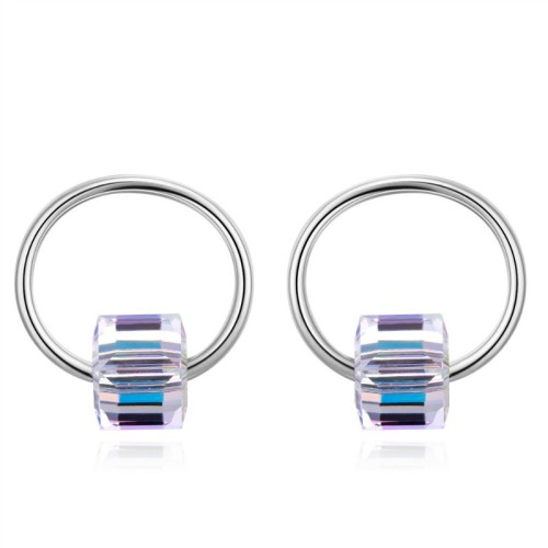 Silver needle square earrings 28696