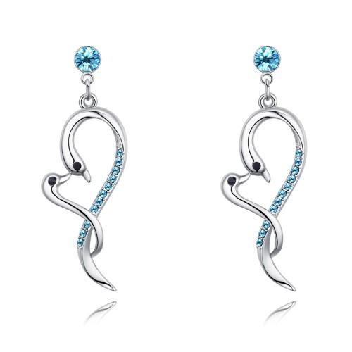 swan heart long earring