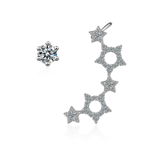 Korean-Style Cutout Five-Pointed-Star Asymmetric Ear Stud Female Sweet Diamond Set Ear Clip Gothic Ed882