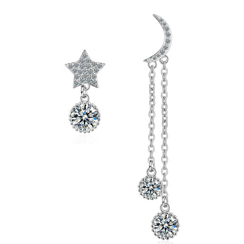 Korean-Style Five-Pointed Star Ear Stud Asymmetric Diamond Set Moon and Stars Zircon Earrings Tassel Earrings ED883