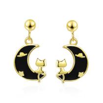 Ear Stud Women's Japanese and South Korean Style Cute Moon Chic Epoxy Cat Creative Earrings Ed885