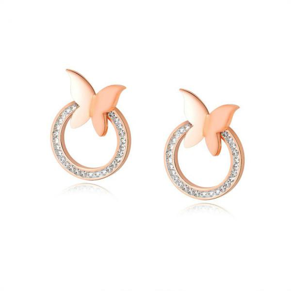Simple Korean-Style Butterfly Earrings Women's Ear Stud Elegant Inlaid Zircon Circle Ear Pendant Cool All-match Ear Stud Gb469