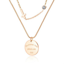 Ornament Wholesale Double-Layer Stainless Steel Diamond Set round Pendant Exquisite Cross Necklace Letter Necklace