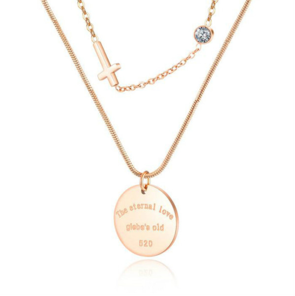 Ornament Wholesale Double-Layer Stainless Steel Diamond Set round Pendant Exquisite Cross Necklace Letter 1620