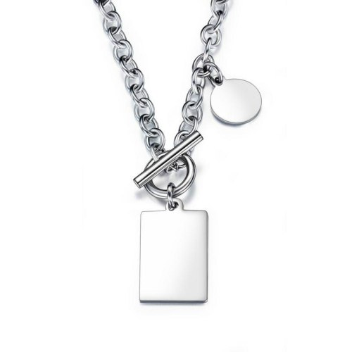 Factory Personalized Elegant Stainless Steel Square round Plate Necklace Women's Pendant Ornaments  personalized necklace  1594