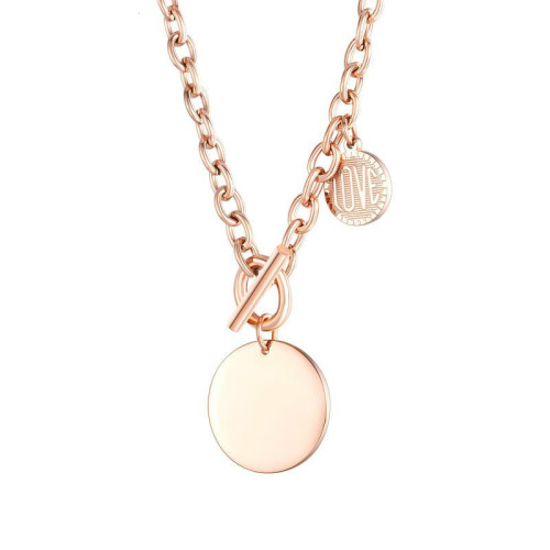 Korean Style New Fashion Love round Brand Clavicle Necklace T-Shaped Buckle Stainless Steel Necklaces Gb1633