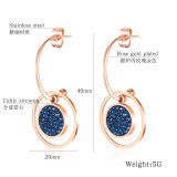 Cross-Border Women's Simple and Exquisite round Ring Earrings Titanium Steel Rose Gold Ear Stud Gb577