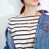 Japanese Korean Women's Cool Double-Layer Stainless Steel round Brand Cool Pendant Temperament Geometric Necklace Gb1621