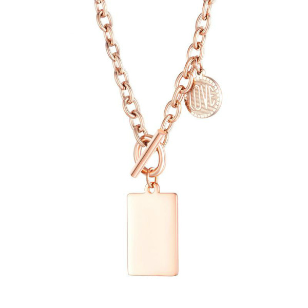 Necklace Stainless Steel Female OT Clip Jewelry Can Carve Writing Pendant Hip Hop Fashion Geometric Square Round Necklace Gb1634