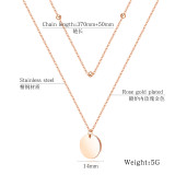 Europe Ornament Classic Double Small Ball Bead Chain Smooth round Plate Pendant Women's Stainless Steel Necklace Gb1655
