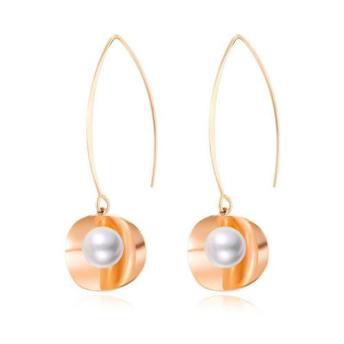 2020 New Japanese and Korean Pearl Earrings Female Ear Stud Elegant Synthetic Pearl Simple Geometric Ear Stud Gb570