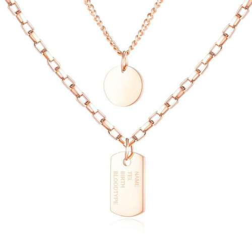 Japan and South Korea New Cool Hip-hop Multi-Layer Women's Simple round Card Square Pendant Stainless Steel Necklace Gb1637