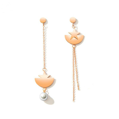 Cross-Border Hot  Ear Rings Simple Star Imitation Pearl Earrings Elegant Long Five-Pointed Star Dangle Earrings Gb461