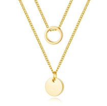 European Simple Double-Layer Stainless Steel Necklaces Female Geometric round Pendant Necklace Jewelry Wholesale Gb1657