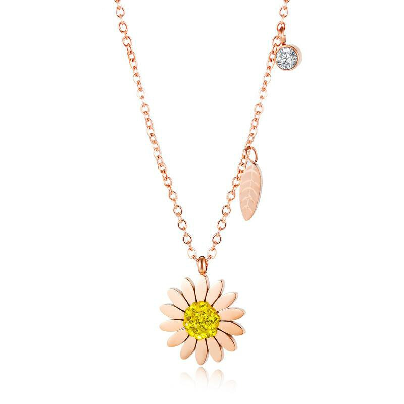 Korea Delicate Daisy Diamond Set Pendant Female Clavicle Chain Non-Mainstream Design Leaf Necklace Accessories Gb1648