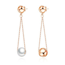 Japanese and Korean Style Pearl Earrings Sweet Cool Stainless Steel Earrings Simple Exquisite Tassel Jewelry Wholesale Gb572