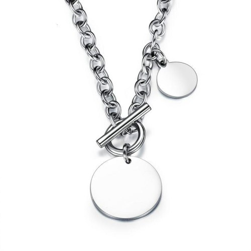 Classic Minimalist Stainless Steel round Card Womens Necklace Personality OT Clip Ornament Gb1539