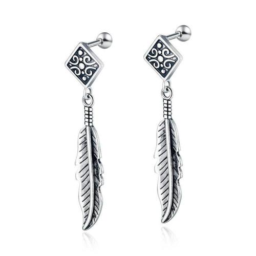 Korean Fashion Retro Simple Ear Stud Cool Stainless Steel Feather Pendant Earrings Men's All-match Ear Stud Wholesale Gb578