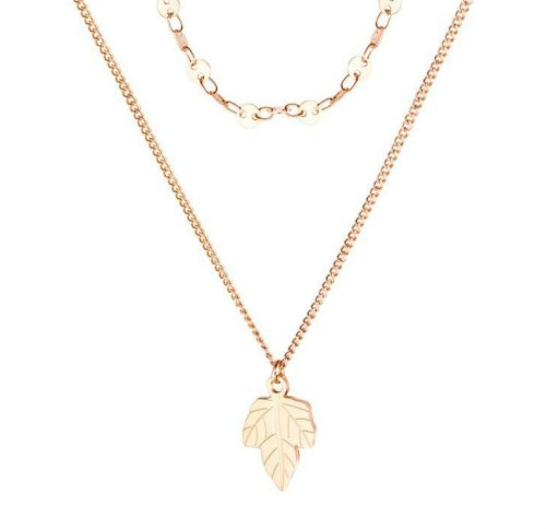 Hot Non-Mainstream Design Double-Layer Stainless Steel Maple Leaf Pendant Necklace Chains Necklace Women Chain Necklace 1622