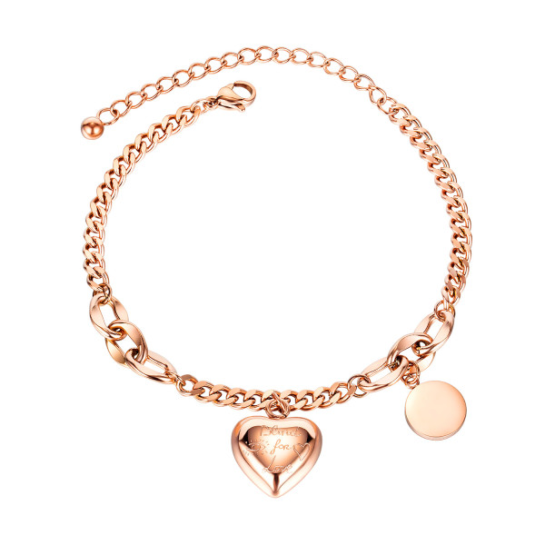 European Fashion Jewelry Wholesale Simple Lovely Titanium Steel Bracelet Female Rose Gold Charm Bracelet Gb1066