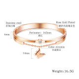 Titanium Steel Jewelry Hot Selling Rose Gold Plated Butterfly Women's Zircon Stainless Steel Bracelet Gb940