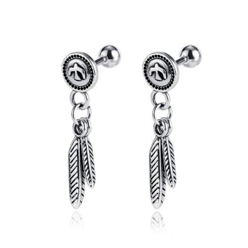European and American Classic Popular Stainless Steel Leaf  Dangle Earrings All-match Peace Pigeon Men and Women Earrings Gb587
