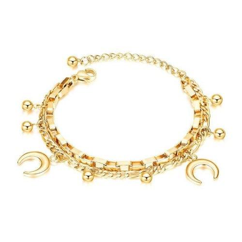 Factory Direct Fashion Multi-Layer Stainless Steel Cool Bead Moon Bracelet Female  women bracelet gb1060