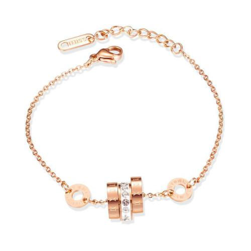 Korean Fashion Stainless Steel Bracelet Roman Numeral Diamond Set Bracelet Female Ins Titanium Steel Bracelet Jewelry Gb1065