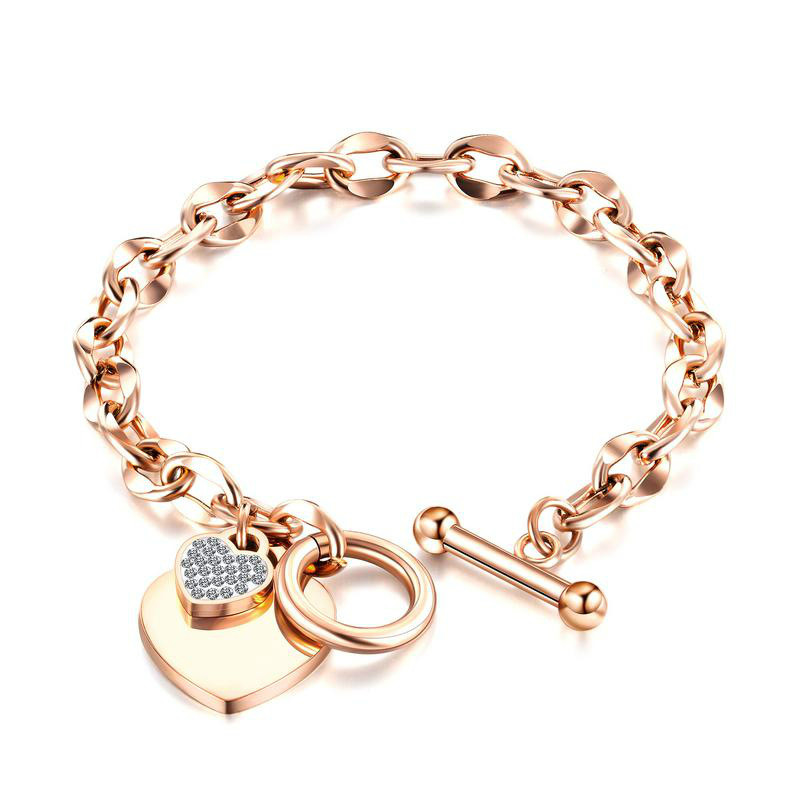 European Fashion Lovely Stainless Steel Bracelet Rose Gold Plated Otbuckle Titanium Steel Women's Bracelet Gb1012