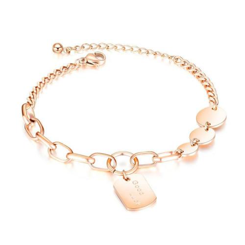 Korean Hot Jewelry Creative Cool Ins Bracelet Female Titanium Steel Round Bracelet Tennis Bracelet  gb1057