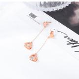 South Korea Lovely Zircon Dangle Earrings Simple Fashion Stainless Steel Rose Gold Women Earrings Gb582