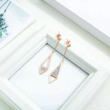 Japanese and Korean Fashion Ear Stud Titanium Steel Women's Ear Studs Zircon Diamond  Earrings All-match Drop Earrings Gb532