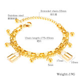 Simple Multi-Layer Bracelet Fashion Cool round Lock Stainless Steel Ornament Bracelet  charm bracelet gb1059