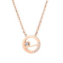 Factory Direct Korean New Simple Clavicle Chain Fashion Trendy Titanium Steel Diamond Set Pendant Necklace Female Gb1667