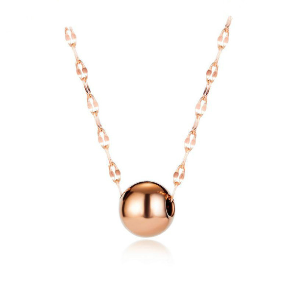 Luck Ball Pendant Necklace Female Stainless Steel Water Corrugated Chain Clavicle Chain Accessories Wholesale Gb1664