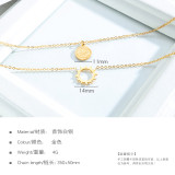 Japanese and Korean-Style Double Ring Pendant Women's Simple Temperament Chain Necklace Titanium Steel Clavicle Chain Gb1565