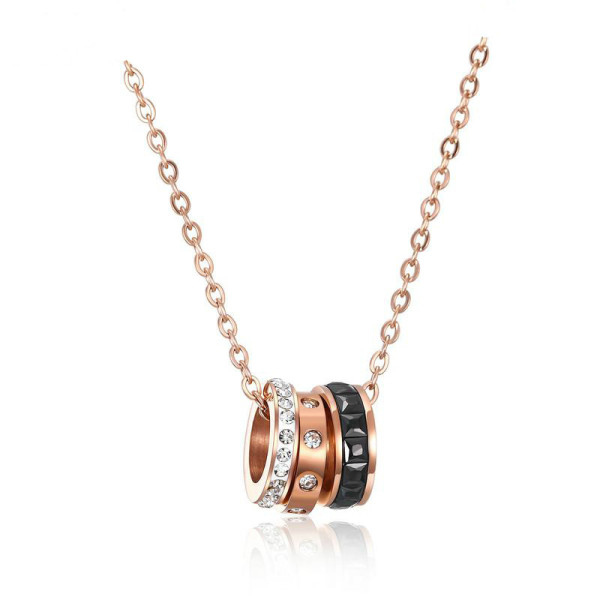 Rose Gold Plated Chain Titanium Steel Women's Elegant Necklace Simple Student Accessories Pendant Necklaces Gb1462